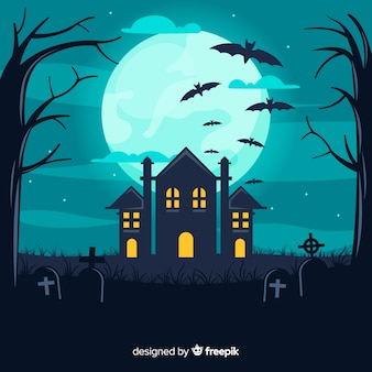 House in cemetery halloween background