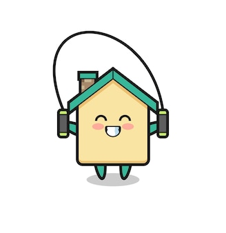 밧줄을 건너 뛰는 집 캐릭터 만화, 귀여운 디자인