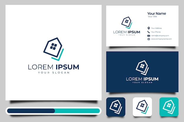 Дом галочка логотип креативный дизайн и шаблон визитной карточки