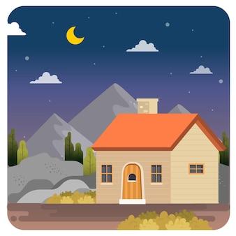 Дом дымоход иллюстрация пейзаж фоне ночного неба