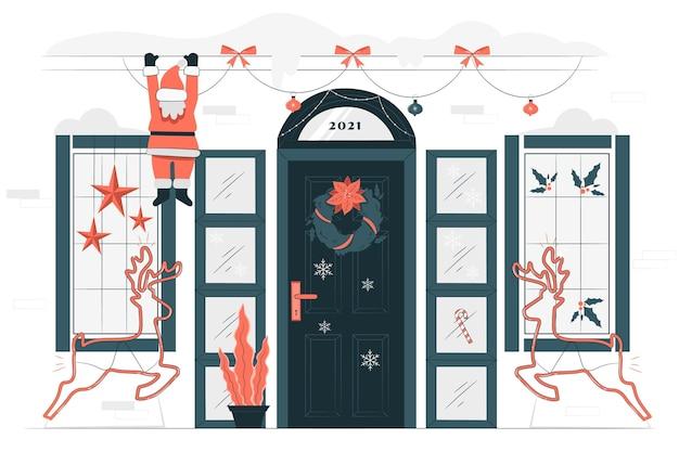 家のクリスマスの装飾の概念図
