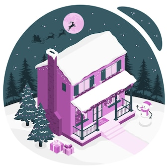 House christmas decorations concept illustration
