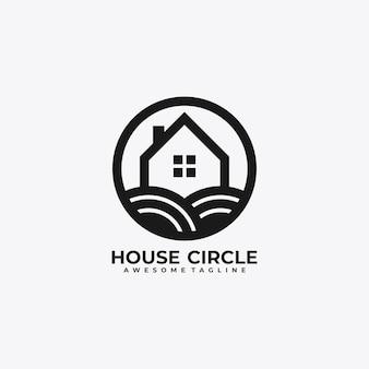 House circle logo design vector