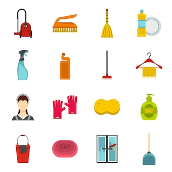 House cleaning icons set