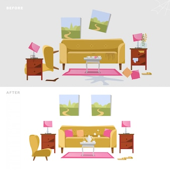 House cleaning illustration before after