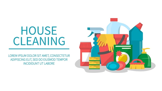 House cleaning service isolated web banner. spray, spong and brush, equipment for domestic work. bottle with chemical product and soap.