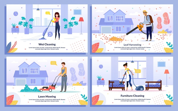 House cleaning service works  banners set