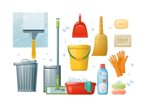 ハウスクリーニング窓拭きセット。家庭での衛生的な衛生のための家庭用ツール。モップ、バケツ、スクレーパー、ビン、ゴム手袋、洗剤、石鹸、スクープ。消耗品洗濯クリーナー作業サービスベクトル漫画