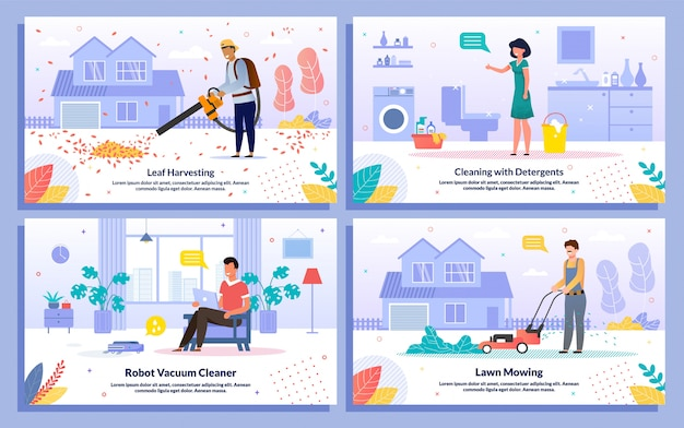 House cleaning works flat vector banners set