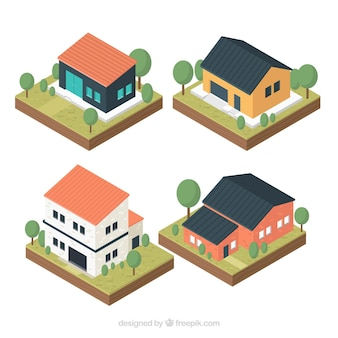 House collection of four in isometric style