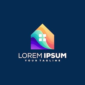 Дизайн логотипа градиента цвета дома