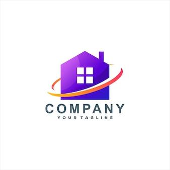 家の色のグラデーションのロゴデザイン