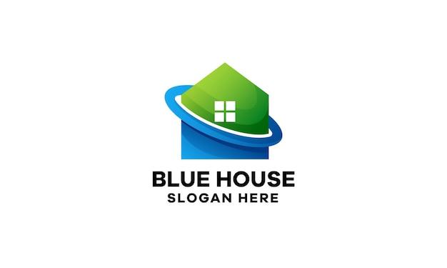 家のカラフルなグラデーションのロゴのテンプレート