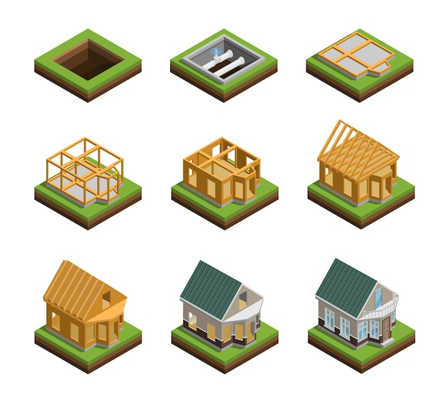 House construction icons set