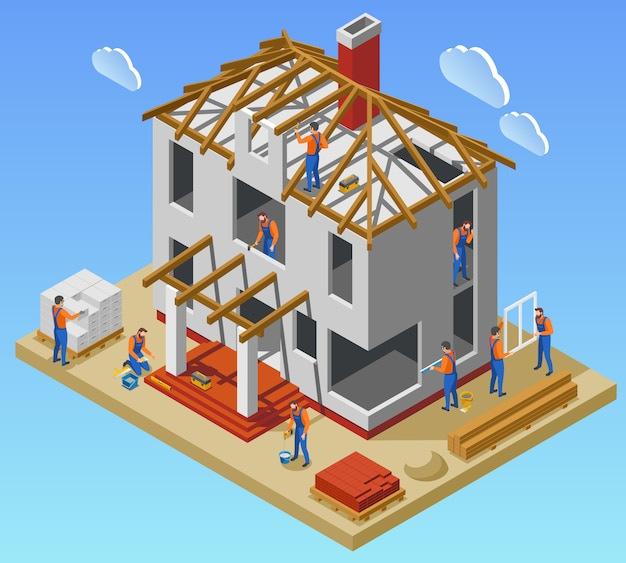 미완성 된 건물 벡터 일러스트 레이 션에서 일하는 노동자의 팀과 함께 주택 건설 단계 아이소 메트릭 포스터