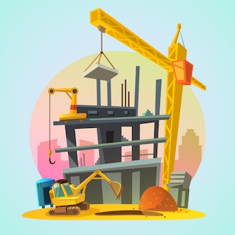 House construction process with cartoon building machinery retro style