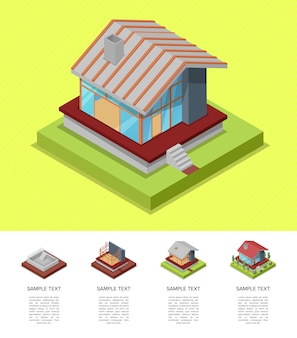 House construction stages isometric template