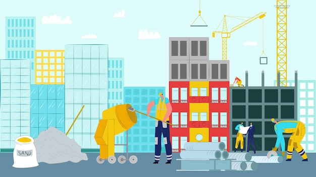 House construction work illustration.