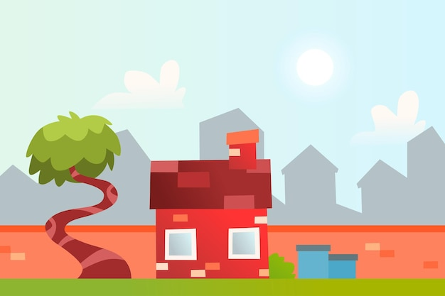 A house in the countryside premium vector suitable for multiple purpose