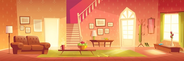 House cozy living room interior cartoon