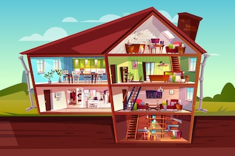 House cross section illustration of home interior and furniture.