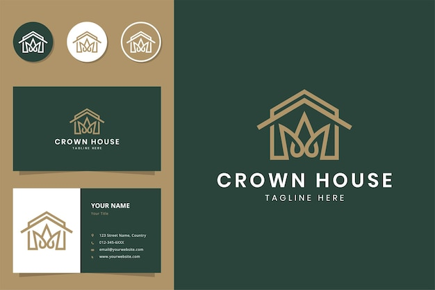 House and crown line art logo design and business card Premium Vector