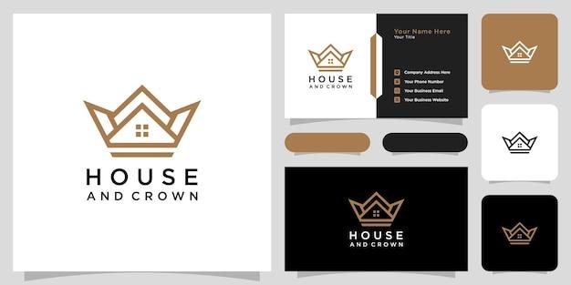 Дом корона логотип вектор дизайн и визитная карточка