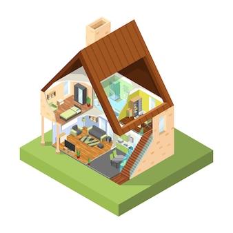 Дом визитка изометрии. интерьер современного дома с разными комнатами с мебельными картинками