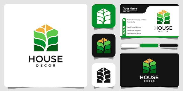 House decor with business card  simple logo template design vector