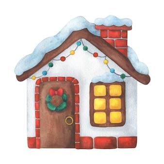 クリスマスのために飾られた家。子供のスタイルで新年の水彩イラスト
