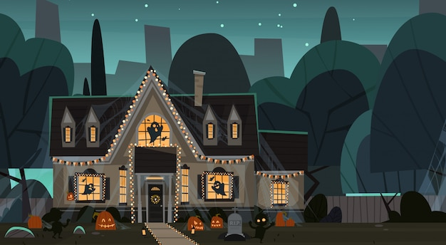 House decorated for halloween, front view with different pumpkins