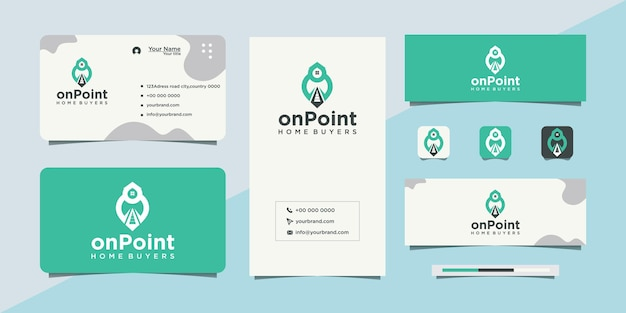 House design and location map pin with business card