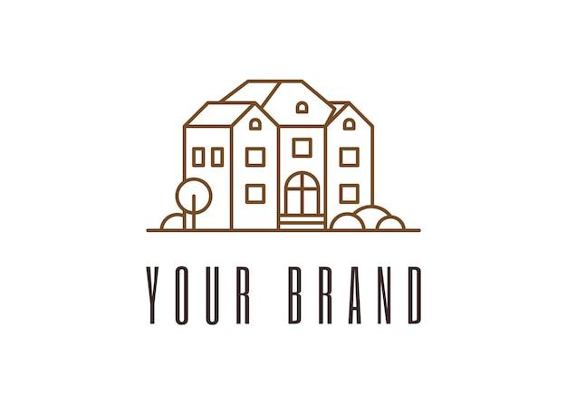 집 개발 선형 로고 디자인 부동산 건설 브랜드 아이덴티티 개념 아키텍처