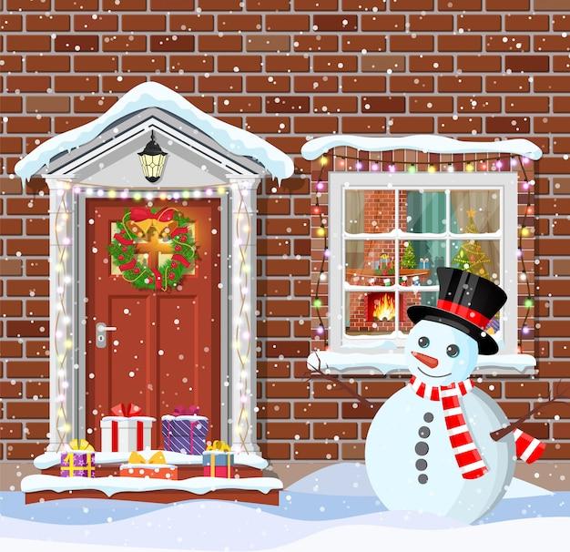 Украшение двери дома на рождество