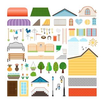 家の要素。窓やドア、ベンチ、街灯。建築物、ランタン、ファサード。