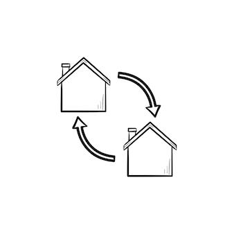 하우스 교환 손으로 그린 개요 낙서 아이콘입니다. 부동산 가격, 투자, 금융 및 이동 개념
