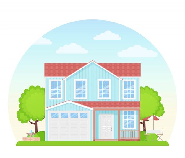 House exterior front view. illustration. flat design.