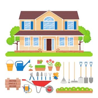 Дом снаружи, садовый инвентарь. иллюстрации. Premium векторы