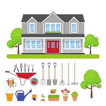 Экстерьер дома, иллюстрация комплекта садовых инструментов.