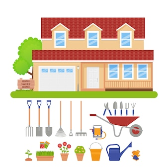 House exterior, garden tools set. illustration.