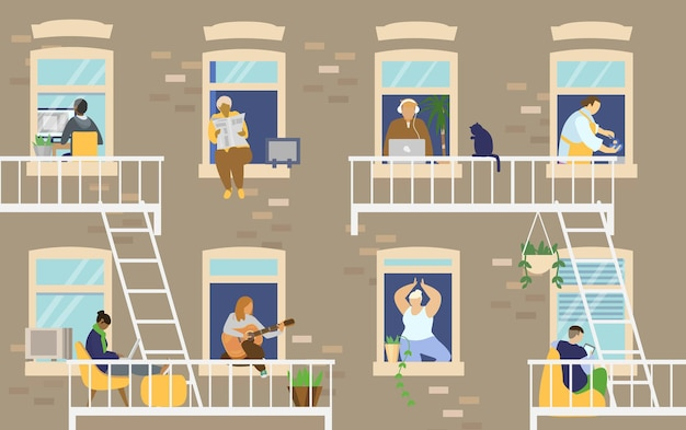 House exterior with people in windows and balconies staying at home and doing different activities. flat illustration.