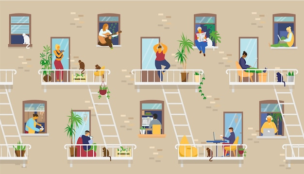 House exterior with people in windows and balconies staying at home and doing different activities: studying, playing guitar, working, doing yoga, cooking, reading.   illustration.