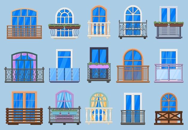 House facade balconies. balcony, terrace fencing, house architecture facade balconies illustration set