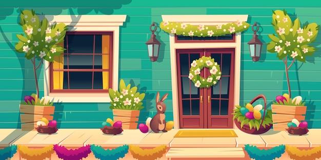 Facciata della casa con decorazioni pasquali sulla porta e portico in legno