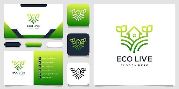 Дом ферма логотип концепция визитная карточка