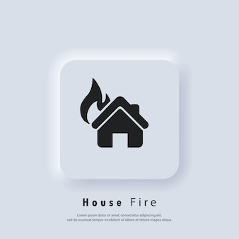 House on fire. house fire logo. vector. ui icon. neumorphic ui ux white user interface web button. neumorphism