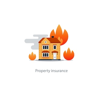 House fire insurance icon illustration