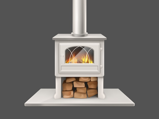 House fireplace with painted in white, metallic or marble stone firepit and chimney pipe