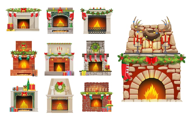 House fireplaces with christmas decorations set. stone, brick and marble fireplaces with fire, christmas tree ornaments baubles, holly leaves and stocking, gifts, winter holiday wreath cartoon vector
