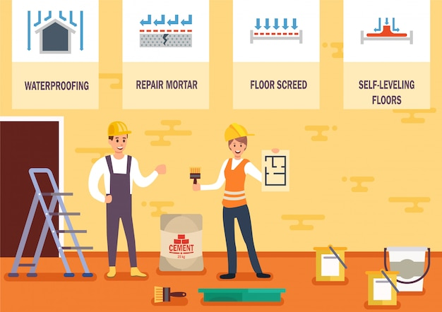 House floor repair and leveling vector concept